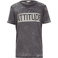 Boys grey mock leather attitude t-shirt