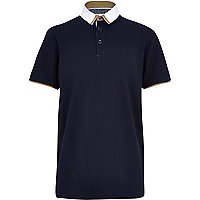 Boys navy smart woven polo shirt