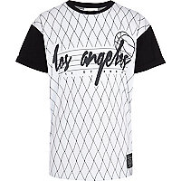 Boys white LA mesh block t-shirt