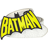 Boys white Batman belt