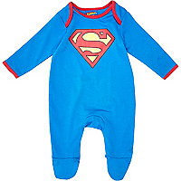 Mini boys blue superbaby sleepsuit
