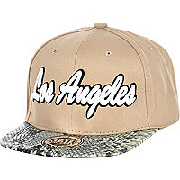 Boys beige Los Angeles snake snapback hat
