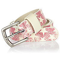Boys red star print belt