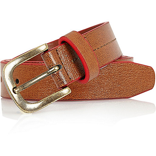 boys brown belt with edging belts ties