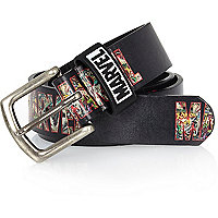 Boys black Marvel vintage word print belt