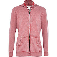 Boys red burnout hoody