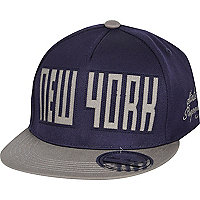Boys navy New York laser snapback hat