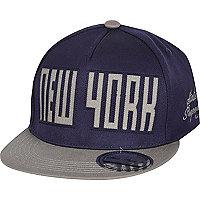 Boys navy New York laser snapback hat