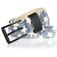 Boys black star print belt
