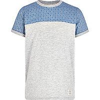 Boys grey tile block print t-shirt