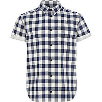 Boys navy check short sleeve shirt