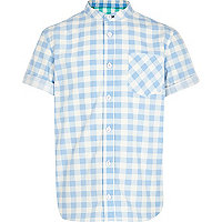 Boys light blue check grandad shirt