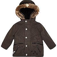 Mini boys dark grey luxe parka coat