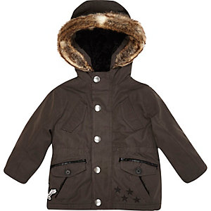 Mini boys dark grey luxe parka coat
