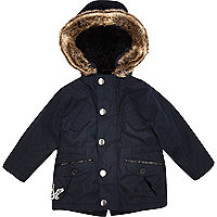 Mini boys navy blue luxe parka coat