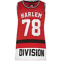 Boys red Harlem 78 print mesh vest