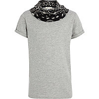 Boys grey bandana cowl neck t-shirt