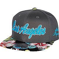 Boys grey hawaiian LA snapback hat