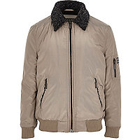 Boys grey padded bomber jacket