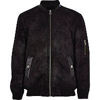 Boys black luxe bomber jacket