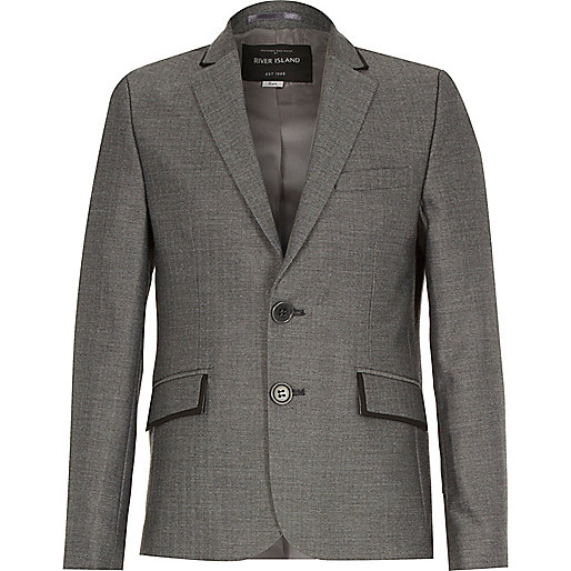 Boys grey herringbone suit blazer