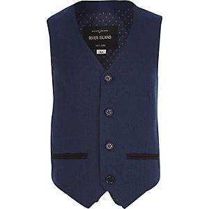 Boys navy suit waistcoat