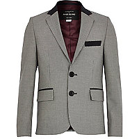 Boys black check suit jacket