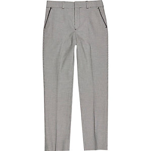 Boys black check suit trousers