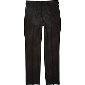 Boys brown check suit trousers