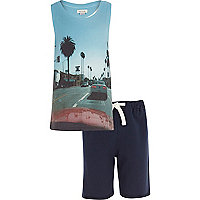 Boys LA street print vest and navy short set