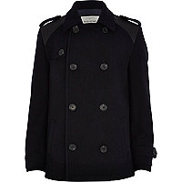 Boys navy wool pea coat