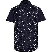 Boys navy hashtag shirt