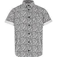 Boys white textured print shirt