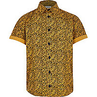 Boys yellow textured print shirt