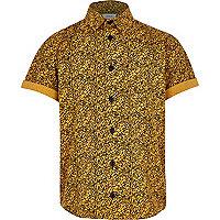 Boys yellow textured print shirt