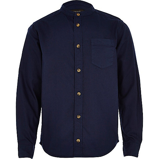 Boys navy Oxford long sleeve shirt