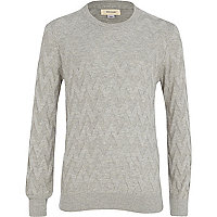 Boys grey zig zag jumper