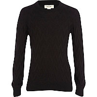 Boys black zig zag jumper
