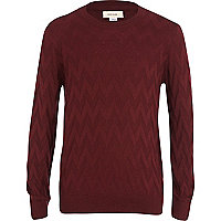Boys dark red zig zag jumper
