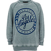 Boys green acid wash LA sweatshirt