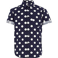 Boys navy polka dot print shirt