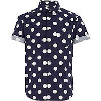 Boys navy polka dot print shirt