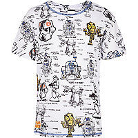 Boys white Star Wars graffiti print t-shirt