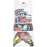Boys white Marvel print vest