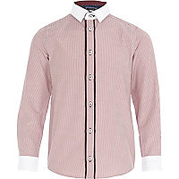 Boys red pinstripe smart shirt