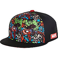 Boys black Marvel print snapback hat