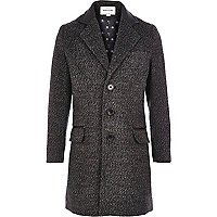 Boys grey wool texture crombie coat