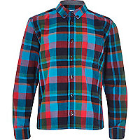 Boys bright blue check shirt
