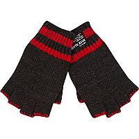 Boys black fingerless gloves