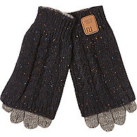 Boys navy chunky knit gloves